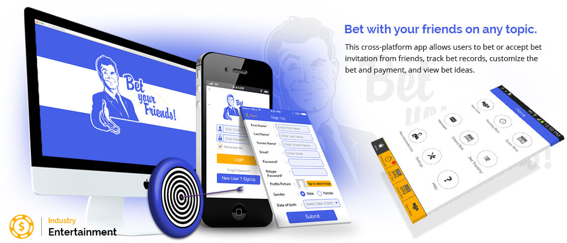 Bet with your friends on any topic. An interesting app for entertainment to bet on anything. Have a crazy idea for betting in mind? This is the right app for any kind of crazy bet. Add a new bet or accept bet invitation from friends. The users can track his own bet records too - App was developed by vedinfomedia Cross Platform App Developers