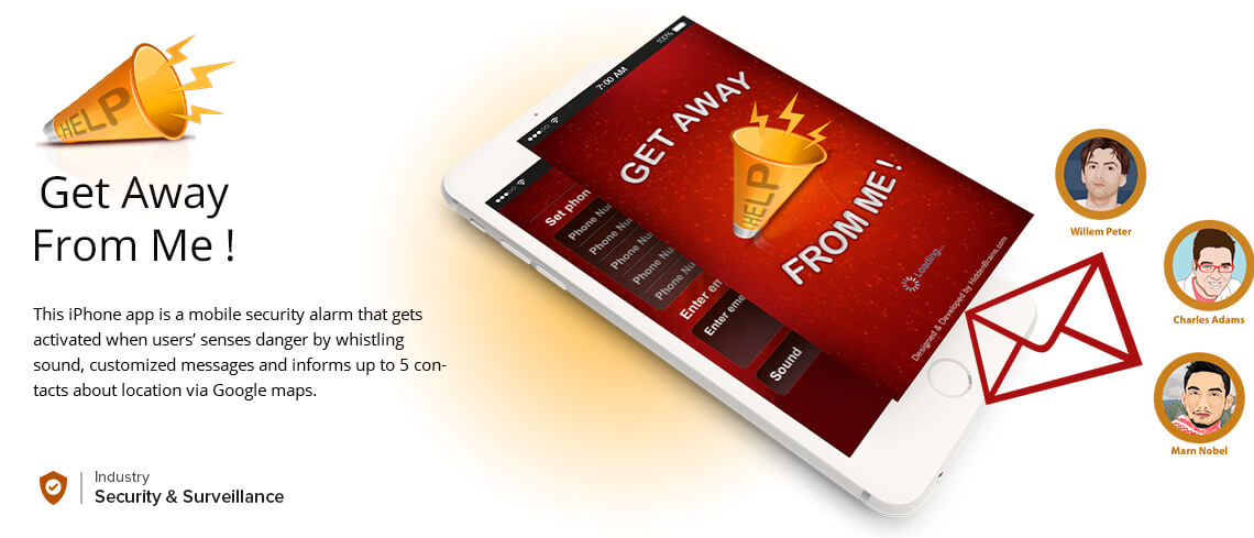 Get Away from Me App - Mobile security alarm app - Developed by Expert iPhone Application Developers of vedinfomedia