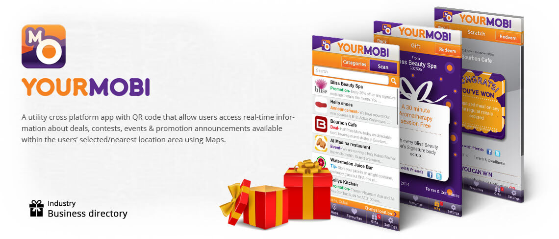 YOURMOBI - A utility cross platform with QR code that allow users access real-time information about details, contests, events & promotion announcements available within the users selected/nearest location area using Maps - This business directory app was developed by Skilled & Proficient Cross platform app developers